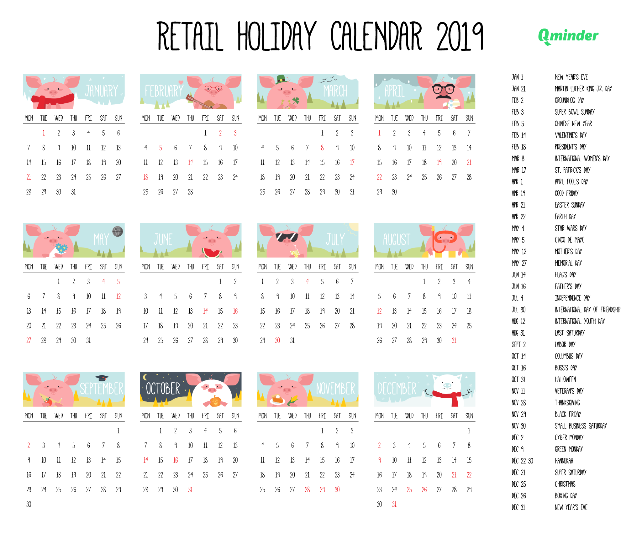 2019 Retail Holiday Calendar Qminder