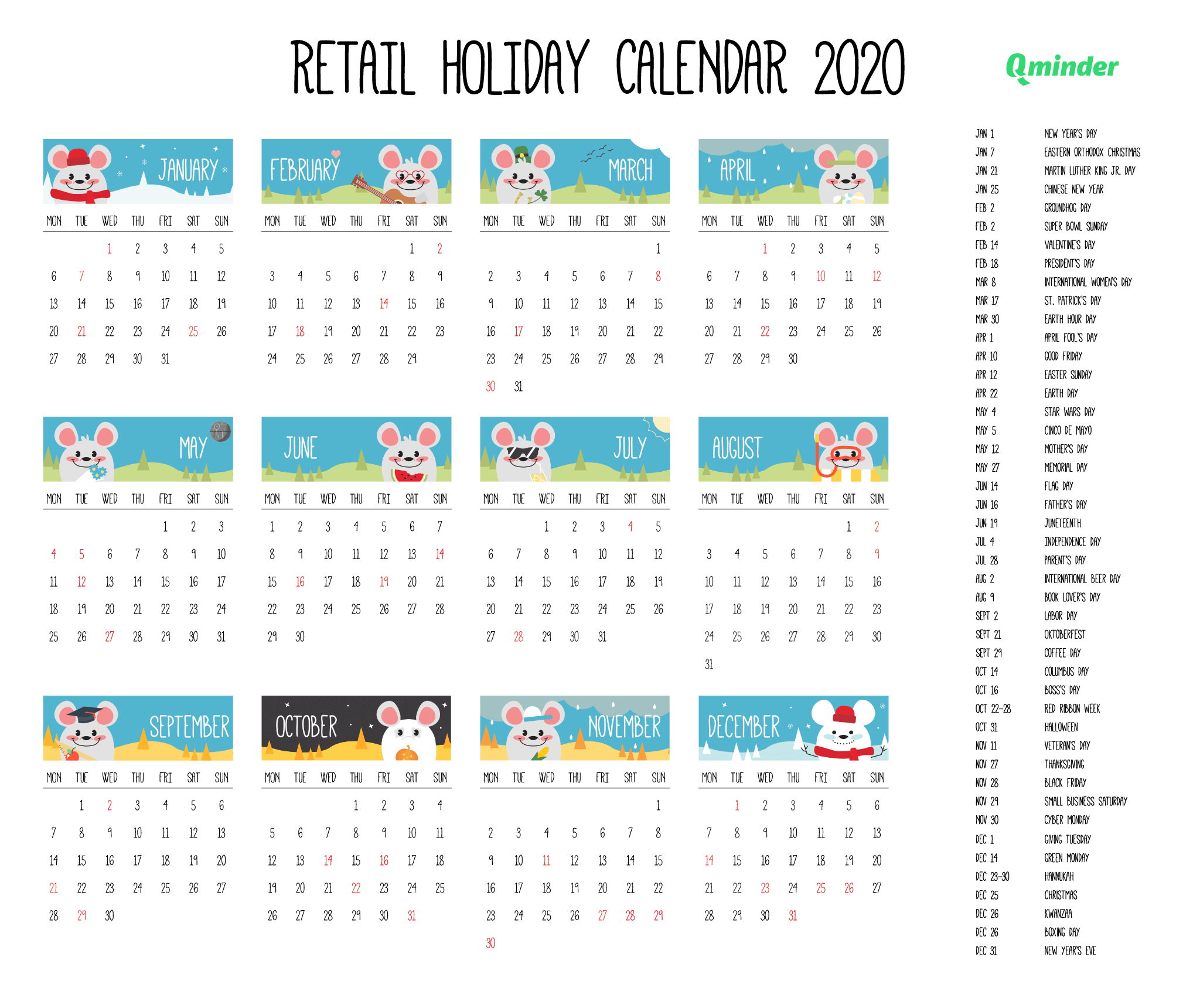 retail holiday calendar 2020