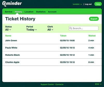 qminder dashboard visitor