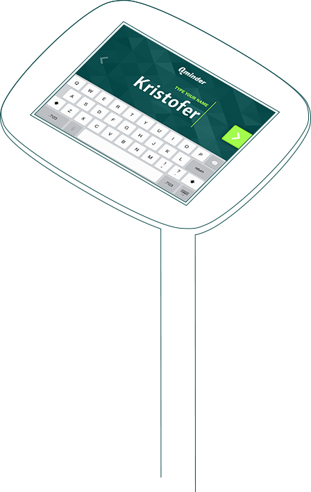 Qminder iPad-based queue management kiosk visitor self sign-in